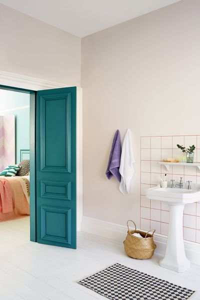 Make an entrance to your bathroom ensuite by giving your door a lick of bold colour. Sea Urchin 1 is a beautiful blue green shade that'll  brighten up any space. Use soft neutral shades such as Chalk Blush 3 and Carribean Dawn 1 to give the rest of your bathroom space a timeless look.