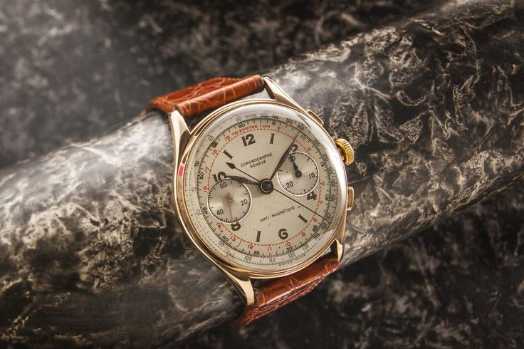 Chronographe Geneva. Really nice Chronographe Genève 18ct rose gold 37 mm case from circa 1940's Inside the gold case is the quality Landeron movement which was fully serviced in October 2016 great value early chronograph all working as it should movement protected by original dust cover . Terrific value