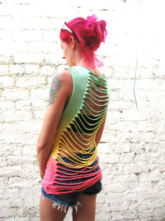 Rasta Slashed Top Hand Dyed Womens Vest Top Size 8 by AbiDashery