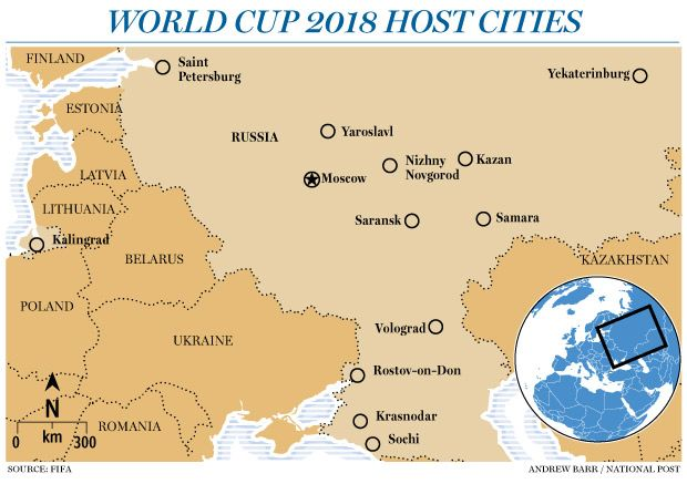 World Cup 2018 Russia host cities