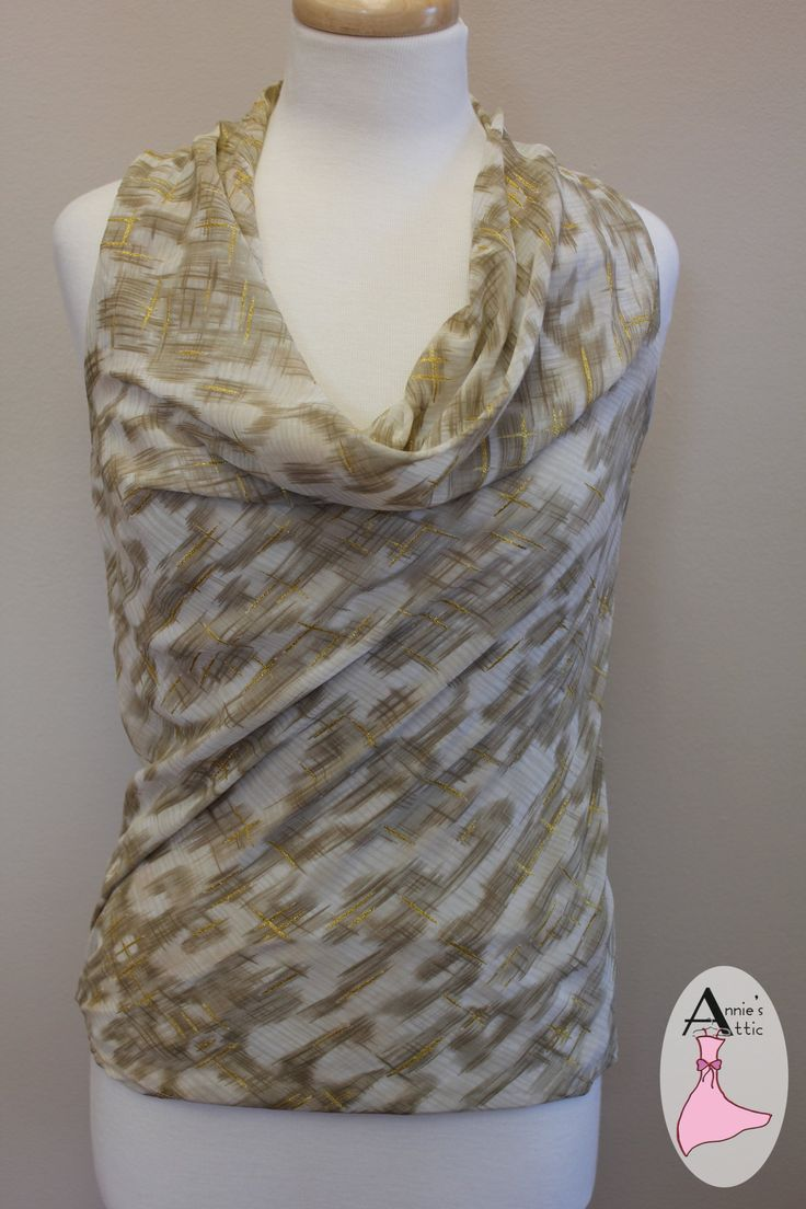 Ann Taylor tank blouse, size XS Dark and lighter tan with gold throughout blouse Cowl neckline Built in camisole $20.00