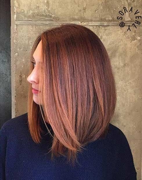Straight, Peachy Copper Lob Hairstyle