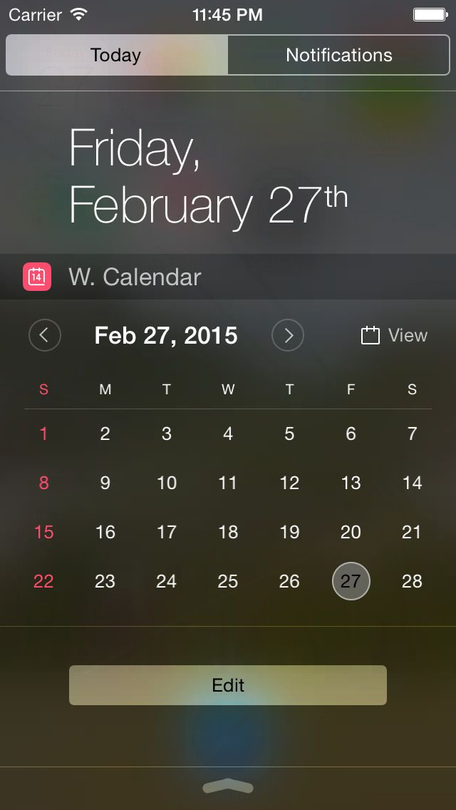 """iPhone App Widget Calendar 