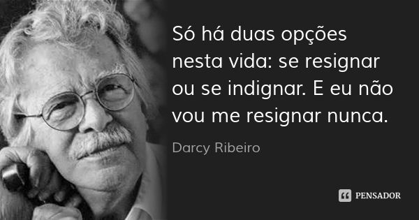 Só há duas opções nesta vida: se resignar ou se indignar. E eu não vou me resignar nunca. — Darcy Ribeiro