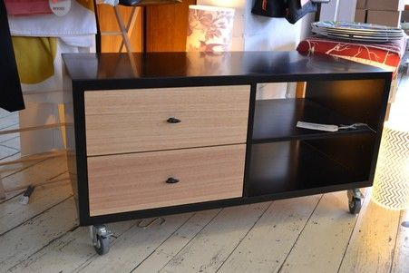 Hifi Cabinet, 2 column, Black with Ash drawers.  Wilkins and Kent