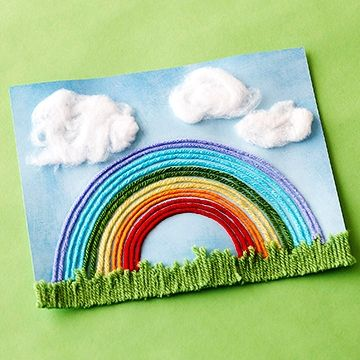 Capture that perfect summer sky and help your kids create their own brilliant rainbows with multicolor pieces of yarn.                 Make It: Clip various sizes of green yarn for grass and use double-stick tape to adhere to the bottom of an 8x10-inch piece of blue cardstock. Trace around a bowl with a pencil to create the bottom arch of the rainbow; draw similar arches at 1/4-inch intervals until you have enough lines to create a rainbow. Add glue to each line while your kids place on the…