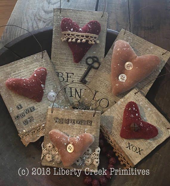My Valentine Primitive Hearts Ornies PATTERN