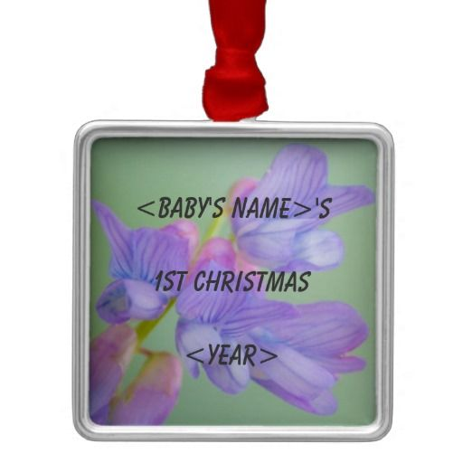 Soft Purple Flower Baby's 1st Christmas Silver-Colored Square Ornament