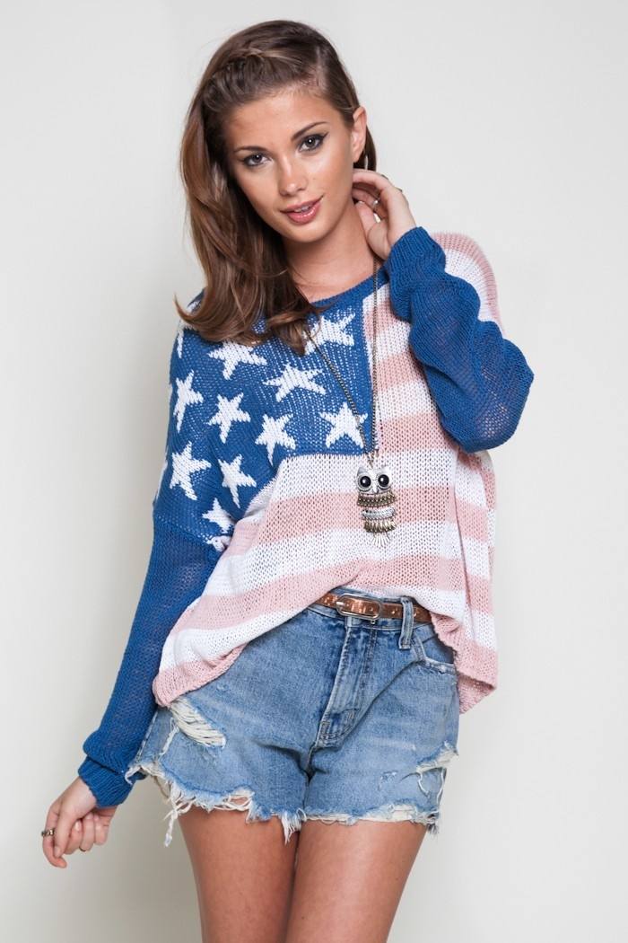 Knit loose-fitting  sweater with American flag pattern.  Relaxed fit.