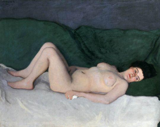 FERENCZY Karoly - femme nu contre un plaid vert -Hongrie  1911