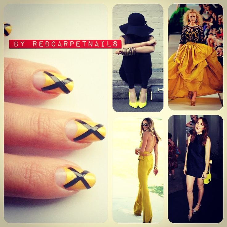 Get these super cool #ontrend #yellow #black #elle #fashion #stripe #summer #fall #autumn #nails by RedCarpetNails for £15 book now 1redcarpetnails@gmail.com
