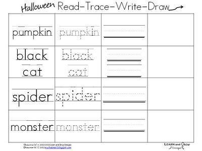 halloween read trace write draw classroom printables pinterest spelling word practice. Black Bedroom Furniture Sets. Home Design Ideas