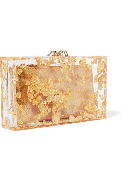 Clear Perspex, gold foil Magnetic clasp fastening at top Comes with gold canvas pouch Comes with dust bag  Made in Italy