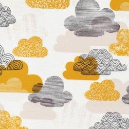 Passing Clouds - Gold - Bark And Branch - Eloise Renouf - Cloud 9 Organic Fabrics