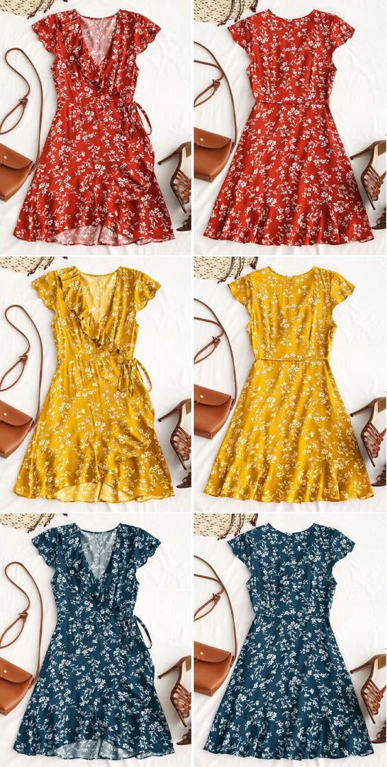b59072317a3 Up to 80% OFF! Tiny Floral Ruffle Mini Wrap Dress.  Zaful  Dress Zaful