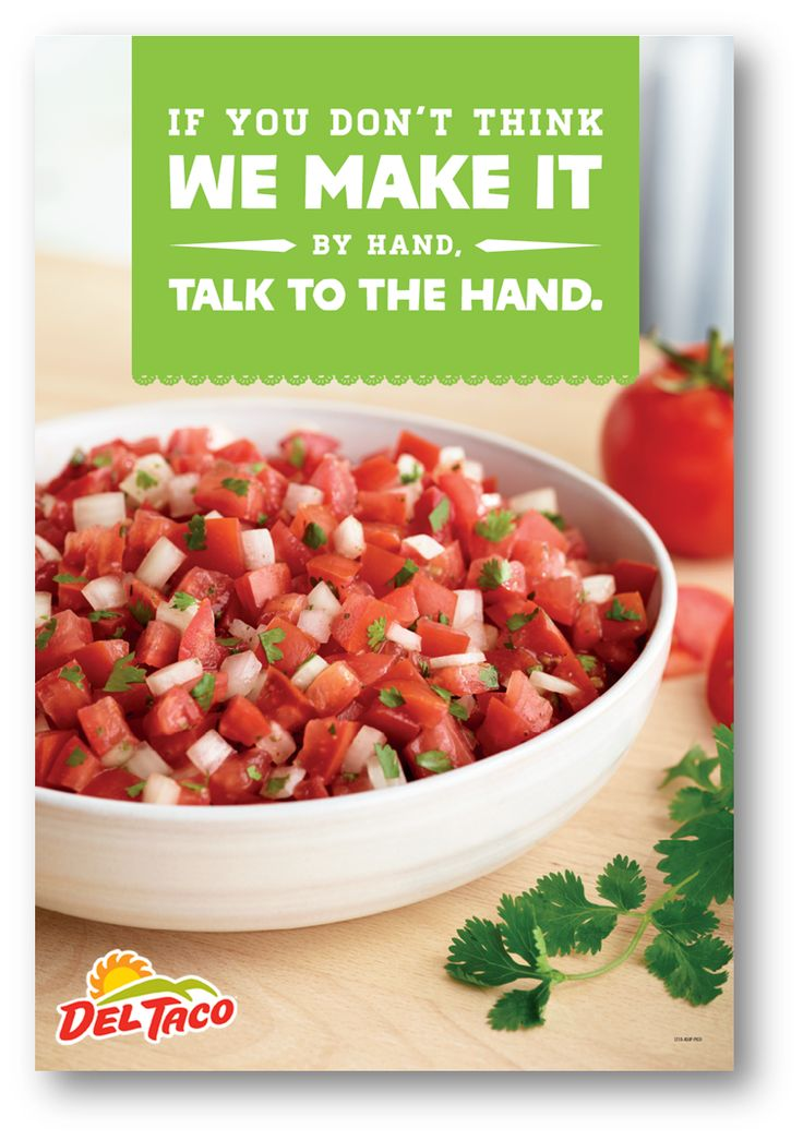 We use fresh tomatoes, cilantro chopped by hand, and diced onions in our pico de gallo. #Handmade #UnFreshingBelievable #DelTaco