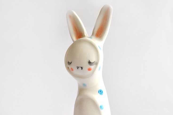 Little Vampire Figure of Ceramic, with his Bunny Sleepwear with Blue Polka Dots. Ready To Ship by Barruntando on Etsy https://www.etsy.com/listing/204441060/little-vampire-figure-of-ceramic-with