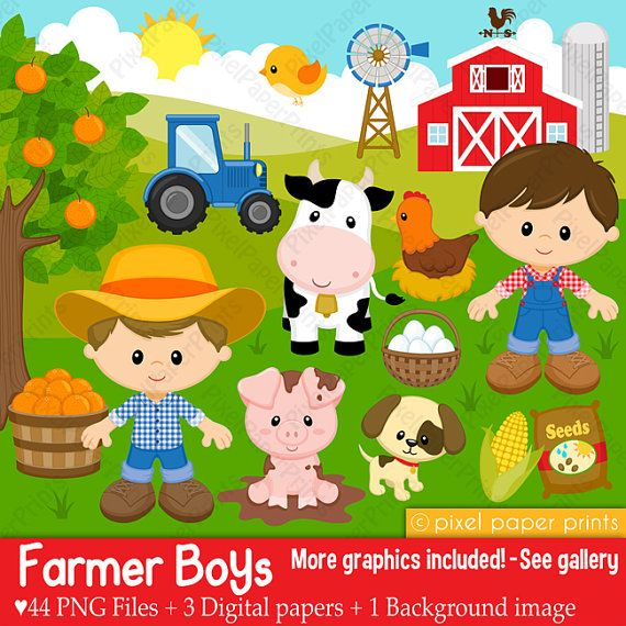 Farmer boys- Farm clipart - Clip Art and Digital paper set