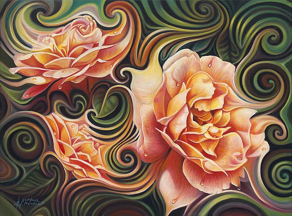 """""""Dynamic Floral V Roses""""  by Ricardo Chevez-Mendez Part of the Dynamic Floral Series"""