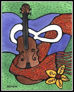 MÉTIS FIDDLE, FLAG, and SASH A somewhat abstract representation of our most common Metis cultural symbols, aside from our beadwork. I had fun with this one, just let my imagination lay out the elements of this painting. I am pleased with the result. A. Bouvette