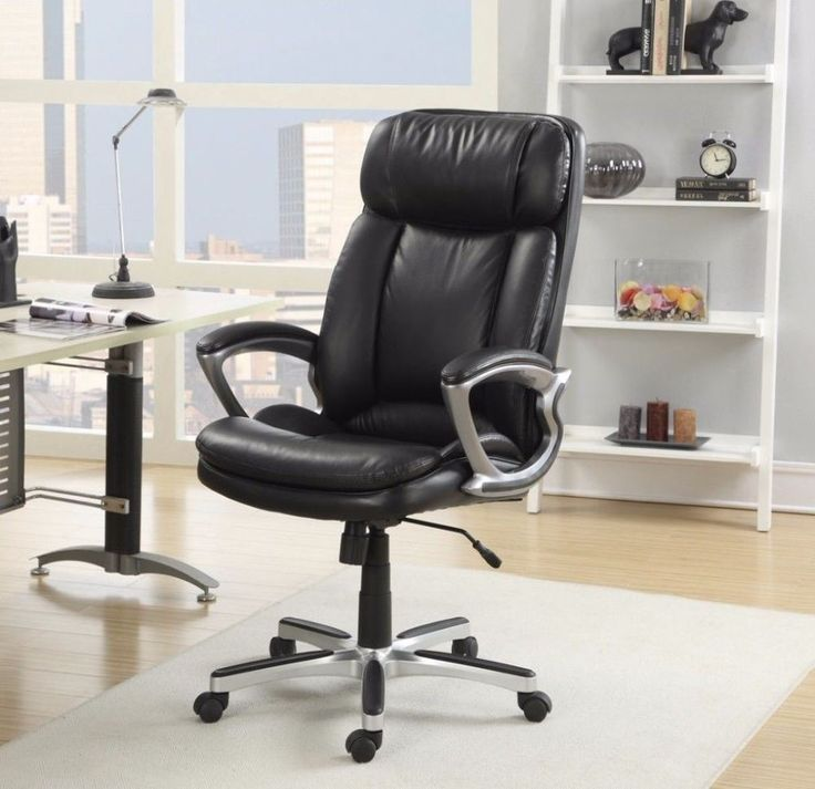 Executive Smooth Black Big And Tall Puresoft Faux Leather Office Chair #chair