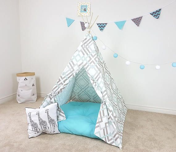 Grey  White  Blue Diamond Lattice Exclusive Teepee Kid's