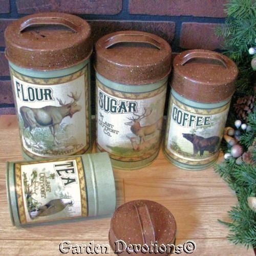 4pc Rustic LOG CABIN CANISTER SET Flour Sugar Coffee BEAR EAGLE ELK Food Safe