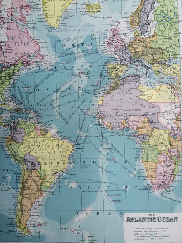 ATLANTIC OCEAN Original Antique Map105 x 135