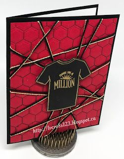 Linda Vich Creates: One In A Million Tee Shirt Birthday. Vibrant birthday card created using Custom Tee Bundle and the new Hexagons Dynamic Embossing Folder.