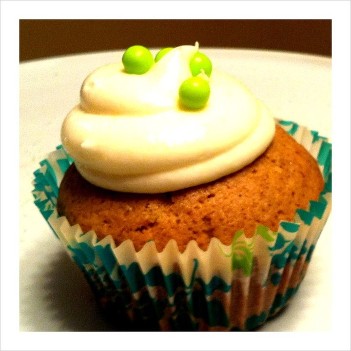 Zucchini-Spice Cupcake topped with Cream Cheese Frosting