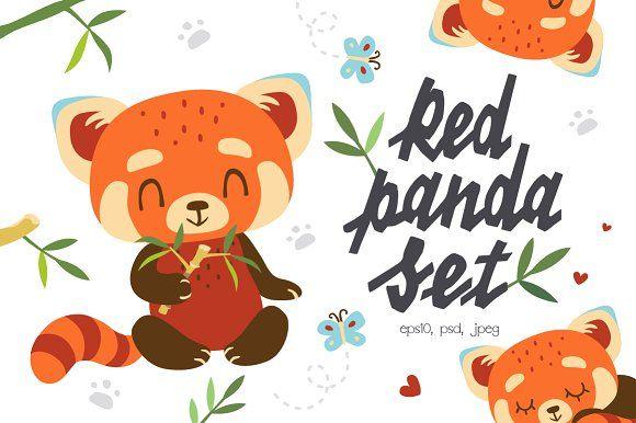 Red Panda Set by SunnyWS on @creativemarket