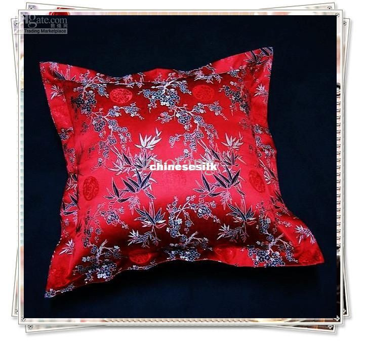 Chinese Joyous Ethnic Red 24 Inch Cushion Pillow Cover for Sofa Seat Chair Home Office Decorative Vintage Silk Satin Fabric Pillow Case 24 Inch Pillow Cover 24 Inch Cushion Cover Large Pillow Cover Online with $49.59/Piece on Chinesesilk's Store | DHgate.com