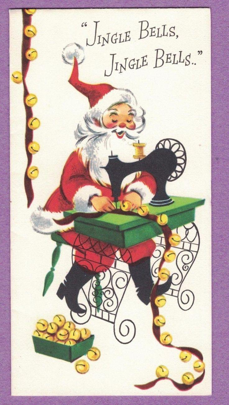 VTG MID CENTURY HAMPSHIRE CHRISTMAS CARD SANTA SEWING MACHINE JINGLE BELLS
