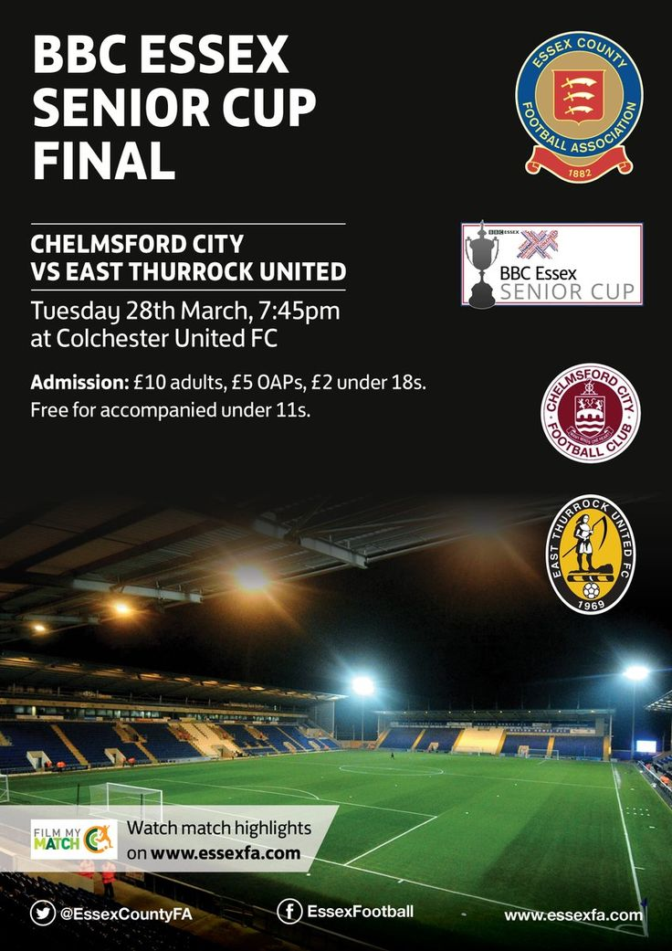 Chelmsford City vs East Thurrock United play in the Essex Senior Cup Final on Tuesday 28th March 2017