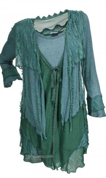 Pretty Angel Clothing Layered Vintage Blouse In Teal