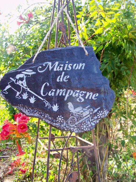"""""""Maison de campagne""""-Suspension en ardoise naturelle pour le jardin,plaque de"""