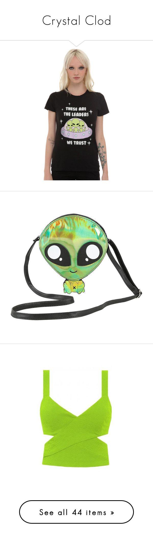 """""""Crystal Clod"""" by aimee-lowenstern ❤ liked on Polyvore featuring Su, peridot, tops, t-shirts, shirts, cosmic t shirt, galaxy t shirt, galaxy print top, galaxy top and nebula t shirt"""