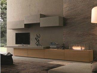 Parete attrezzata componibile fissata a muro con porta tv I-modulArt - 288 - Presotto Industrie Mobili