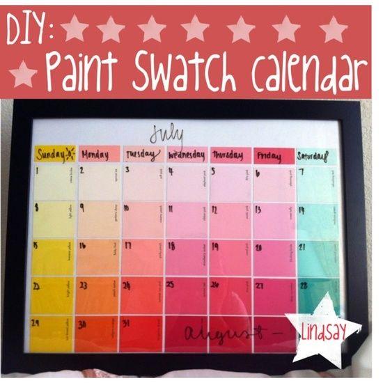 Love Calendar Diy : Diy paint swatch calendar pinterest