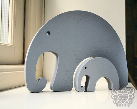 Wooden Elephants - Cut By Fire - Etsy