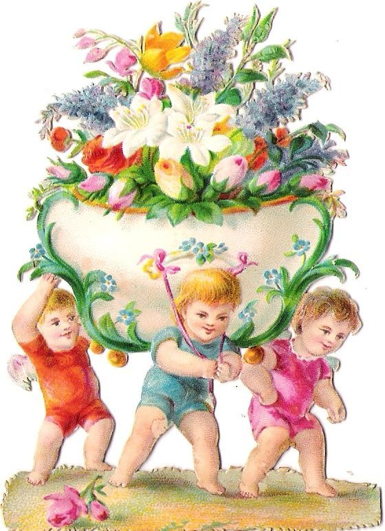 Oblaten Glanzbild scrap die cut chromo Kind child Blumen Schale lily flowers