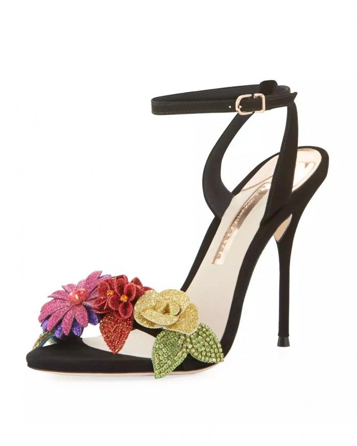 Sophia Webster Lilico Glitter-Flower Ankle-Wrap Sandals | Buy ➜ http://j.mp/2vvMXgB