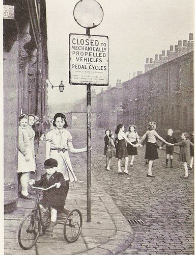 Play street in Salford, Lancashire, c1946, via Flickr.