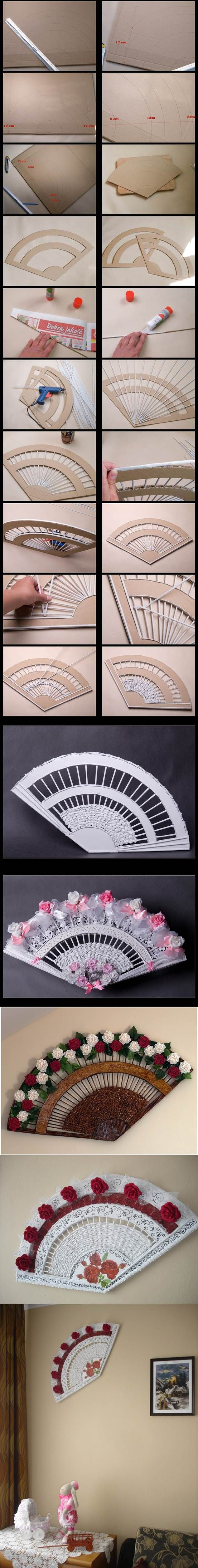 Ventaglio con cannucce di carta  DIY Decorative Fan from Old Newspaper and Cardboard 2
