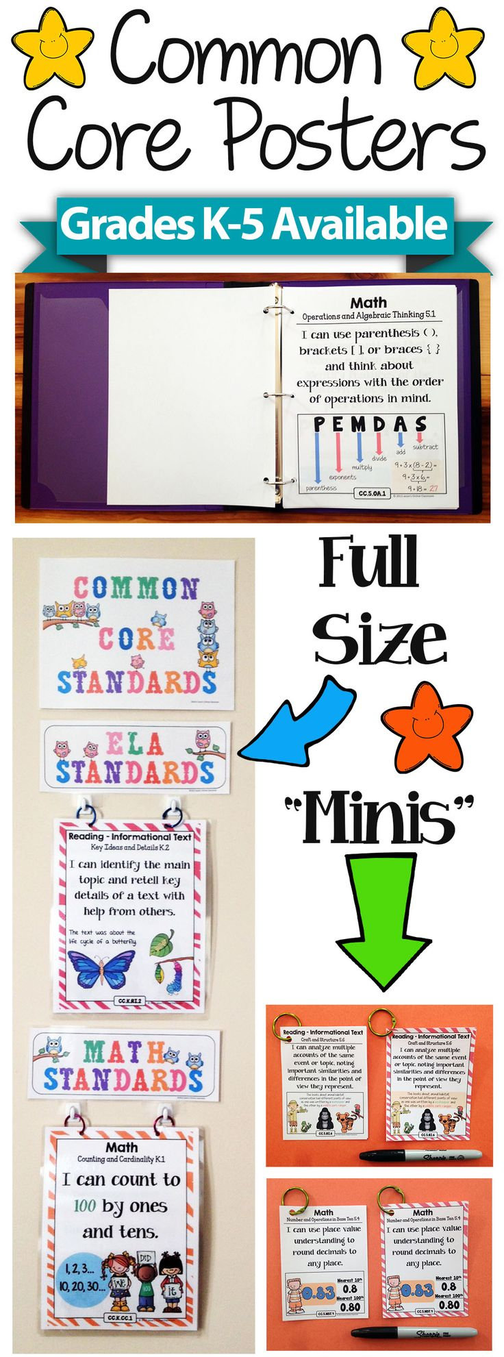 Common Core I Can Statements in FULL Page Format - Grades K-5 Available! Create amazing classroom displays, focus walls, and reference binders! There are also miniature posters included that are the perfect size for interactive notebooks or student reward badges! Stay organized and help the students take charge of their own learning!