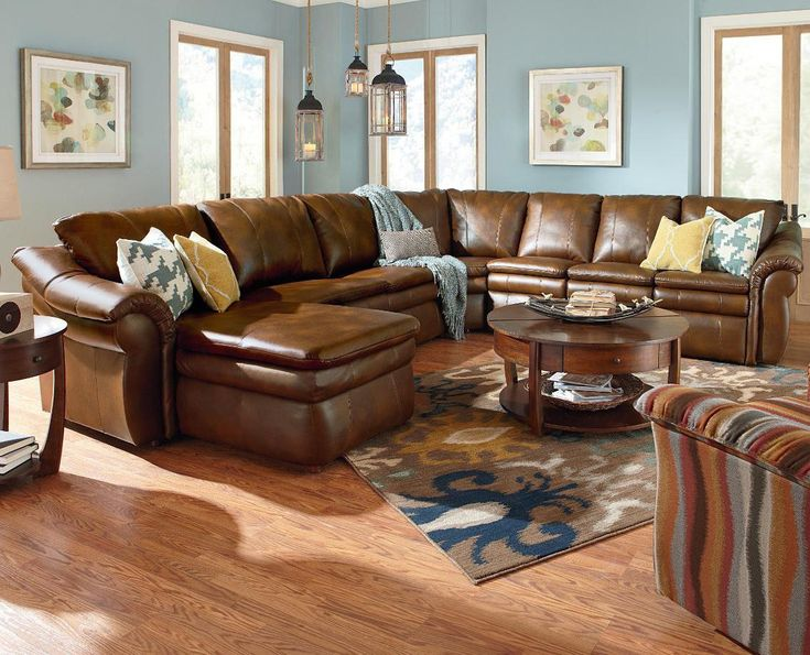 La-Z-Boy Devon 5 Piece Sectional with Left Arm Chaise and 2 Recliners - Riverview Galleries - Reclining Sectional Sofa Durham Chapel Hill Raleigh & Best 25+ Sectional sofa layout ideas on Pinterest | Family room ... islam-shia.org