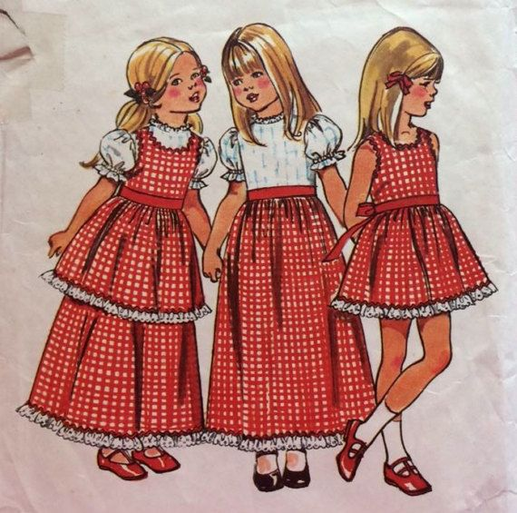 1970s Toddler Maxi Dress and Pinafore  Vintage by BettieJoVintage