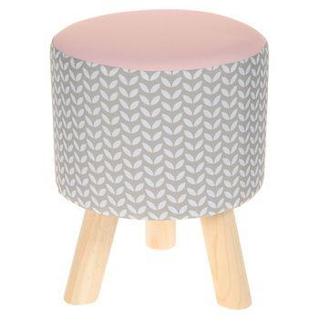 Tabouret assise gris/rose 3 pieds bois