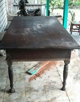 "Javanese Table ""Meja Lurah"". Made of teak. Suitable for indoor desk in house or office. Need finishing. Originally from Kudus, Central Java."
