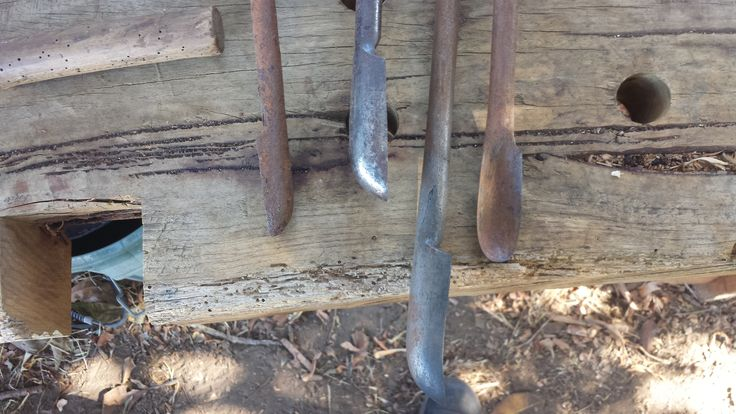 Comparison shot of the four spoon gouges I've currently got for sale.   Note the forge weld on the ~33mm spoon gouge third from the left.